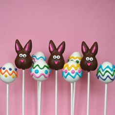 12 Easter Cake Pops as 6 Chocolate Bunnies & 6 by SweetWhimsyShop, $42.00