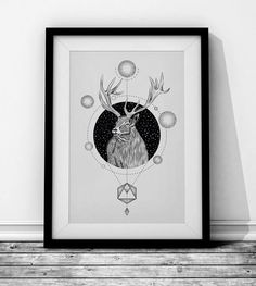 Deer Wieprz Studio Design. #deer #animal #geometry #frame #black #poster