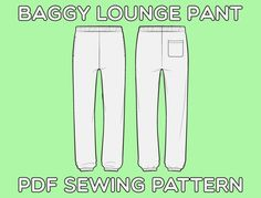 Baggy Cut Lounge Pants PDF Sewing Pattern Sizes XS / S / M / L | Etsy Sewing Patterns For Kids, Easy Sewing Projects, Vintage Sewing Patterns, Sewing Ideas, Patterned Bomber Jacket, Mens Sweatpants, Lounge Pants, Fleece Fabric, Diy Clothes