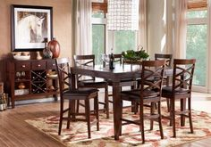 Riverdale Cherry 5 Pc Square Counter Height Dining Room