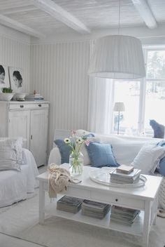 Dusky denim blues and white panelling would really suit the cottage ♥