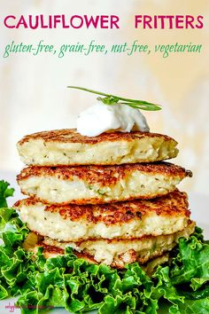Mild, slightly savoury and with a little cheesy flavour these cauliflower fritters make a wonderfully healthy snack or a light meal. Serve with a dollop of yogurt or with a light green salad. These grain-free mini pancakes go especially well with bacon an Best Gluten Free Recipes, Vegetarian Recipes, Healthy Recipes, Pork Recipes, Delicious Recipes, Healthy Foods, Keto Recipes, Cauliflower Fritters, Cauliflower Recipes