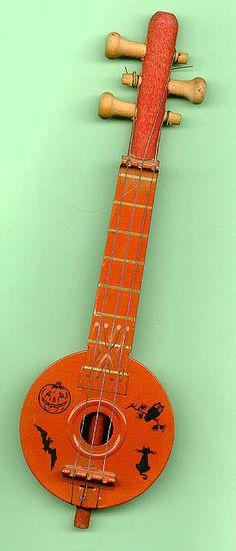 Vintage Halloween Toy ~ Tin Halloween Banjo