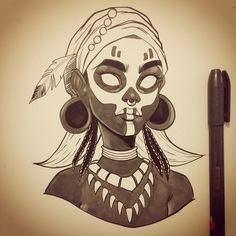 Art by Chrissie Zullo Voodoo for Inktober Character Drawing, Character Concept, Simple Character, Haitian Art, Voodoo Costume, Black Girl Art, Character Design Inspiration, Aesthetic Art, African Art