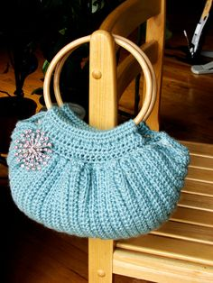 Crochet Fat Bottom Bag with Cane Handles with by TheLilliePad, $33.00
