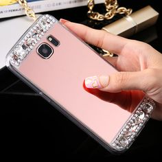 KISSCASE Girly Diamond Case Glitter Mirror Cover For Samsung Galaxy S6 S7 Edge A3 A5 A7 J5 J7 2016 Soft TPU Crystal Gold Cover