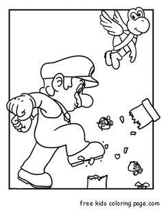 Print out mario bros coloring pages