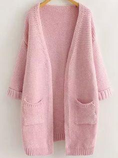 Pink Long Sleeve Casual Pockets Cardigan