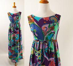 Vintage 1960s Hawaiian Barkcloth Dress Empire by alleycatsvintage
