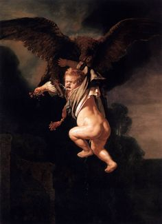 REMBRANDT VAN RYN, 1606 - 1669: Ganymede being carried off by the eagle. Oil on panel, 171'5 x 130.