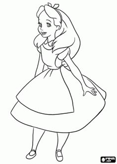 Alice, the girl protagonist of the adventures in Wonderland coloring page
