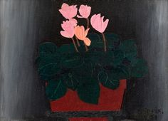 Horace Pippin (1888-1946) - Pink Flowers, 1941