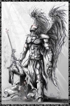 Michael The Archangel Tattoo Drawing - St. Michael The Archangel Tattoo Drawing - Angel Warrior Tattoo, Baby Angel Tattoo, Guardian Angel Tattoo, Warrior Tattoos, Warrior Tattoo Sleeve, Angels Tattoo, Arc Angel Michael Tattoo, St Michael Tattoo, Angel Tattoo Designs