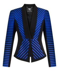 Anthea Crawford Electric & Black Stripe Jacquard Panel Jacket