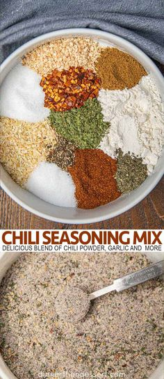Chili Seasoning?Mix is?a delicious blend of?chili powder,?cumin, garlic, parsley , basil, salt, pepper and more.?#chili #seasoning #chiliseasoning #spice #spices #flavor #dinner #dinnerthendessert