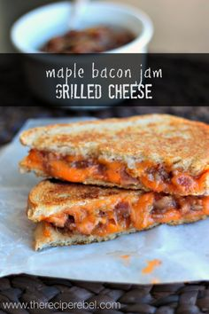 Maple Bacon Jam Grilled Cheese | www.thereciperebel.com Sweet, salty, smoky bacon jam and creamy, sharp cheddar!