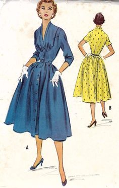 "Vintage 1950's Sewing Pattern Rockabilly Marilyn Dress Bust 32"" (G) 