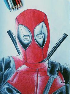 Deadpool is back ✏ #deadpool #deadpoolmovie #wadewilson #ryanreynolds #draw #drawing #art #paper #yet #is #coming #blackandwhite #redandblack #marvel #comisc #fucking #superhero #hand #is #bad