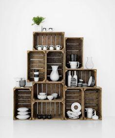 crate shelving + the moustache mugs