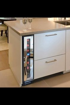 space saving ideas are modern kitchen design trends lushome presents a narrow cooler by vinotemp the company selling wine cabinets wine coolers
