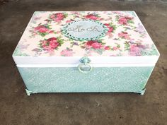 Wedding card box with initials decorated by DumontsHandicrafts