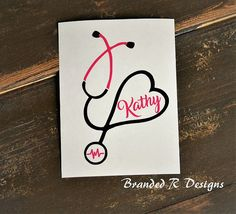 This listing is for ONE Decal. This decal would be great as a gift for a nurse, doctor, veterinarian, vet tech, EMT or anyone in the medical field. Cute stethoscope design personalized with a name! The photo shows this decal in Black and Hot Pink colors . Other colors can be selected when ordering. ******************************************************************* *******NOTE***** Please include a NOTE TO SELLER stating the NAME you would like on your decal. We also have glitter colored…