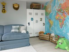 furniture : Locker Bedroom Furniture Full Metal Closet Wardrobe Kids Room Different Unique Design For Boys 4 Drawers Metal Lockers For Kids Rooms Young-at-heart Locker Locks' Advantageously School Lockers For Sale' Insightful Home Lockers For Sale as well Vintage Lockers, Vintage Crates, Metal Lockers, Wooden Crates, Map Wallpaper, My Ideal Home, Kids Room Design, Vintage Design, Interiores Design