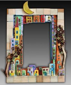 """Best 11 """"Around the Town"""" – as I call it – mosaic! Mirror Mosaic, Mosaic Art, Mosaic Glass, Mosaic Projects, Clay Projects, Shadow Box Kunst, Diy And Crafts, Arts And Crafts, Driftwood Crafts"""