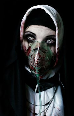 creepy mask on nun- might take up too much of the face though to do anything else with it Horror Photography, Dark Photography, Macabre Photography, Arte Horror, Horror Art, Dark Fantasy, Fantasy Art, Foto Portrait, Arte Obscura