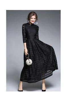 Retro Swing Hollow Out Lace A-Line Black Dress - Uniqistic.com Acham 9fe55dcb1