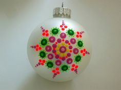 Hand painted glass Christmas tree ornament white by RockArtiste