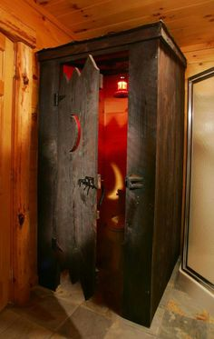 Cool for a cabin: Enclosing the toilet separate from rest of bathroom? Build it like an outhouse in a rustic cabin! *not a link Cabin Bathrooms, Rustic Bathrooms, Basement Bathroom, Master Bathroom, Rustic Cabin Bathroom, Bathroom Cabinets, Bathroom Mirrors, Basement Toilet, Man Cave Bathroom