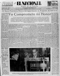 Rómulo Gallegos asumió el poder. Publicado el 16 de febrero de 1948.