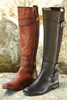 "Anna Stretch Calf Riding Boots from Frye®: Hand-burnished leather uppers are smooth and supple, and the gore added to the back of the shaft is designed to fit over most calves for easier on and off. Full inside zip. Three adjustable buckles. 16"" shaft height; 13.75"" leg opening; .75-inch heel. Imported. Sizes: 6-10 (including half sizes)."