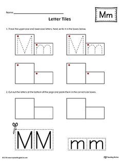 Letter M Tracing and Writing Letter Tiles Worksheet.Practice tracing and then writing the uppercase and lowercase letter M with this printable worksheet. Letter M Worksheets, Letter Activities, Writing Activities, Handwriting Practice Sheets, Handwriting Alphabet, Letter Case, Lower Case Letters, Preschool Printables, Preschool Worksheets
