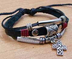 men women black leather cuff  wristband Surfer black cotton Rope Bracelet  with cross  wooden beads mix Adjustable. $7.99, via Etsy.