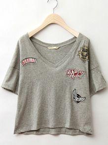V Neck Dip Hem Embroidered Grey T-shirt