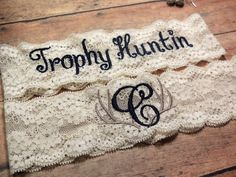Monogrammed Garter, Antler Garter, Deer Garter, Hunting Garter, Blue Garter, Something Blue, Rustic Garter, Garter, Personalized Garter by BloomsandBlessings on Etsy