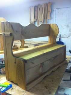 Unfinished Pine Wooden Toy Chest. Deacon's Bench For Children. Can Be Finished…