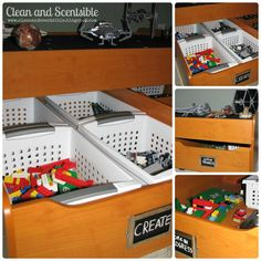 How to organise lego by colour, size, set or purpose. Plus ideas on how to display Lego. The ultimate Lego storage guide! Lego Storage Drawers, Storage Bins, Storage Ideas, Organization Ideas, Lego Shelves, Storage Solutions, Lego City Sets, Lego Sets, Lego For Kids