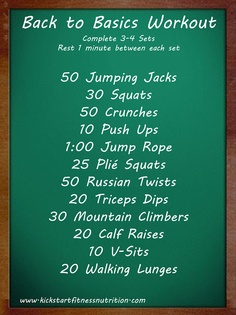 Get Back in Shape with this Back to Basics Workout. Complete 3 - 4 sets, making sure to rest 1 minute in between each circuit