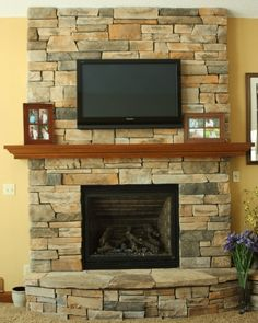 Changing a brick FP to stone Stone Fireplace Makeover, Fireplace Mantle, Pub Decor, Home Decor, Interior Columns, New Living Room, Barn Wood, Wood Wall, Home Remodeling
