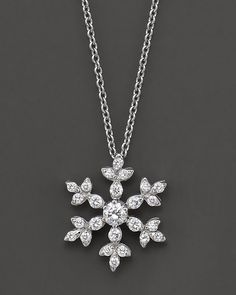 Diamond Snowflake Pendant Necklace in 14 kt. White Gold | Bloomingdale's