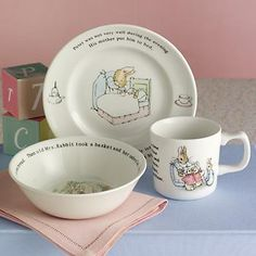 """Wedgwood Original """"Peter Rabbit"""" Child's Dining Set. >>Click on the Children's China Set to see more options at Ross-Simons."""