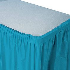 This attractive and affordable turquoise plastic table skirt is a fun way to dress up tables.