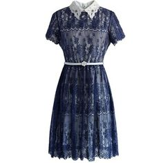 Chicwish Delicate Lace Dress with Beads Collar in Navy - TES
