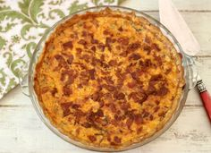 Bacon and Vegetable Egg Pie  - A light, low calorie, slightly spicy egg pie, filled with seasonal vegetables and topped with cheddar cheese and bacon. A perfect meal for breakfast, brunch or dinner.
