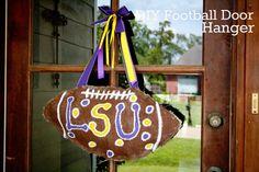 DIY Football Door Hanger - Burlap, paint, ribbon and a little time.