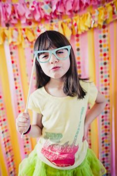 Photo Booth - Great Idea for Kids Parties with Props and a Polaroid (or Digital) camera!