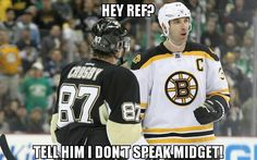 Chara and Crosby. Lol I don't like Chara, but I can't stand Cindy! Hockey Goalie, Hockey Teams, Hockey Players, Ice Hockey, Hockey Baby, Boston Bruins Funny, Boston Bruins Hockey, Funny Hockey Memes, Minnesota Wild Hockey